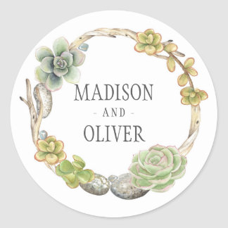 Wreath of Succulents, Twigs and Stones | Wedding Classic Round Sticker