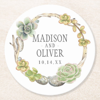 Wreath of Succulents, Twigs and Stones | Wedding Round Paper Coaster