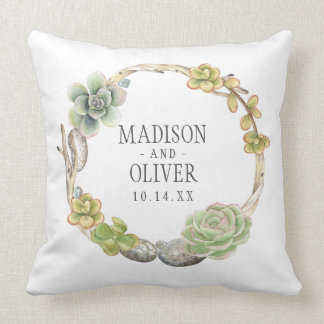 Wreath of Succulents, Twigs and Stones | Wedding Throw Pillow