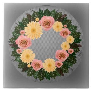 "Wreath ""Old Fashion"" Peach/Pink Flowers Trivet Large Square Tile"