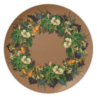 """Wreath """"Old Gold"""" Flowers Floral Melamine Plate"""