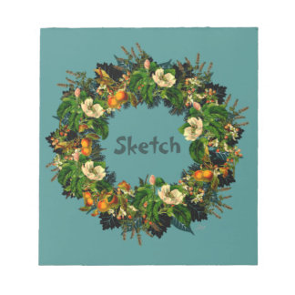 """Wreath """"Old Gold"""" Flowers Floral Notepad"""