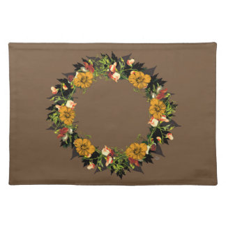 "Wreath ""Ole Orange"" Flowers Floral Placemat"