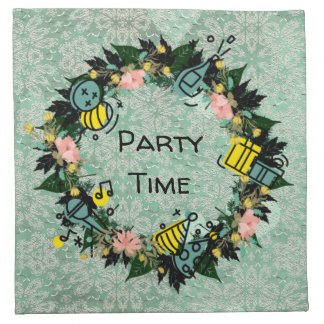 "Wreath ""Party Time"" Flowers Floral Napkins"
