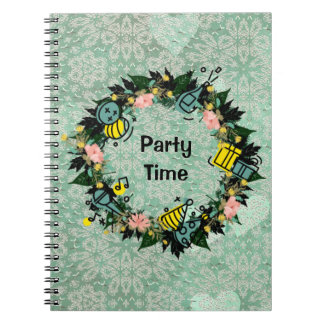 "Wreath ""Party Time"" Flowers Floral Notebook"
