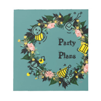 """Wreath """"Party Time"""" Flowers Floral Notepad"""