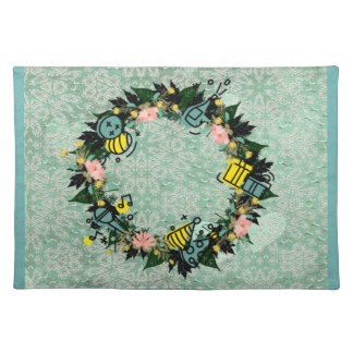 "Wreath ""Party Time"" Flowers Floral Placemat"