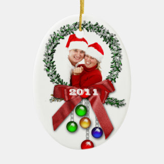 Wreath Photo First Christmas Ornament