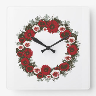 """Wreath """"Pine Cone"""" Posterized Red Flowers Clock"""