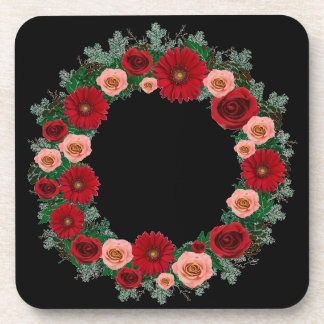"""Wreath """"Pine Cone"""" Red/Pink Flowers Coasters"""