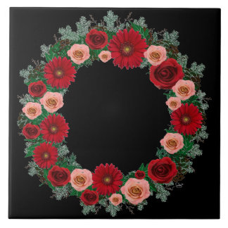 """Wreath """"Pine Cone"""" Red/Pink Flowers Trivet Large Square Tile"""