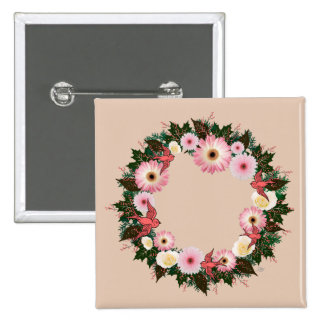 "Wreath ""Pink Bird"" Pink Daisies White Roses Button"