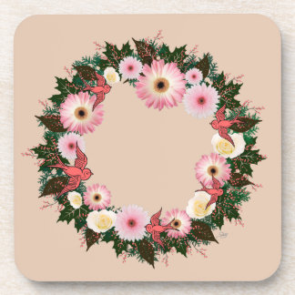 "Wreath ""Pink Bird"" Pink/White Flowers Coasters"