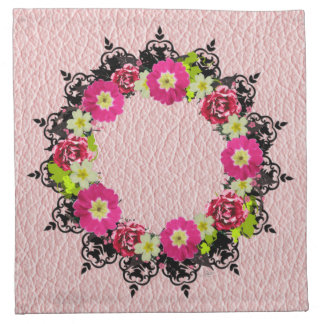 "Wreath ""Pink Grape"" Flowers Floral Napkins"