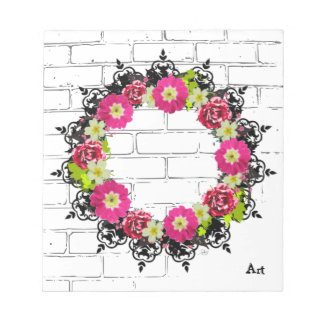 """Wreath """"Pink Grape"""" Flowers Floral Notepad"""
