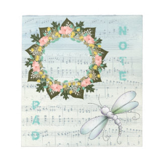 """Wreath """"Pink Love"""" Flowers Floral Notepad"""