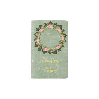 "Wreath ""Pink Love"" Flowers Floral Pocket Notebook"