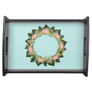 """Wreath """"Pink Love"""" Flowers Floral Serving Tray"""
