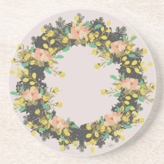 """Wreath """"Pink Yellow"""" Flower Floral Vector Coasters"""