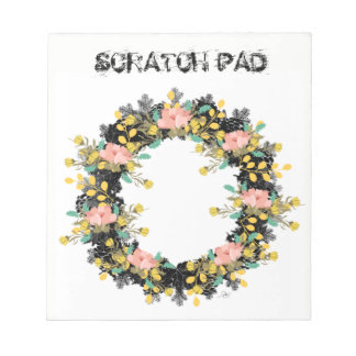 """Wreath """"Pink Yellow"""" Flowers Floral Notepad"""