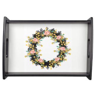 """Wreath """"Pink Yellow"""" Flowers Floral Serving Tray"""