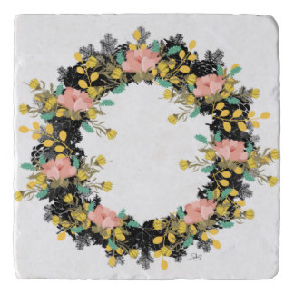 "Wreath ""Pink Yellow"" Flowers Floral Trivet"