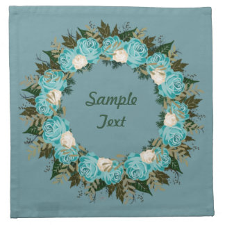 "Wreath ""Pretty Blue"" Flowers Floral Napkins"