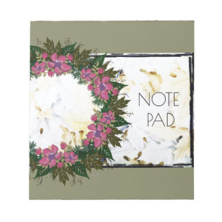 "Wreath ""Purple Dot"" Flowers Floral Notepad"