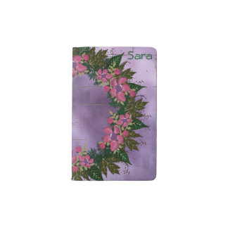 "Wreath ""Purple Dot"" Flowers Floral Pocket Notebook"