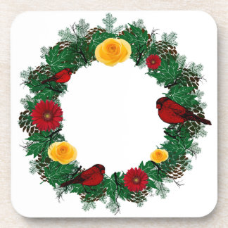 """Wreath """"Red Bird"""" Yellow/Red Flowers Coasters"""