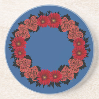 """Wreath """"Red Heart"""" Red Flowers Hearts Coasters"""
