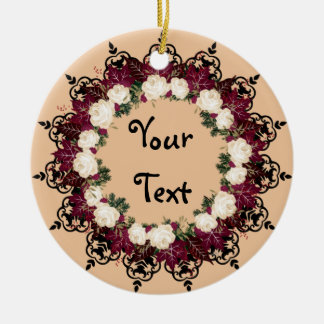 "Wreath ""Red Leaf"" Flowers Floral Ceramic Ornament"