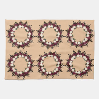 """Wreath """"Red Leaf"""" Flowers Floral Kitchen Towels"""