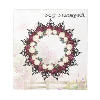 """Wreath """"Red Leaf"""" Flowers Floral Notepad"""