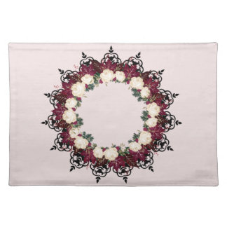 """Wreath """"Red Leaf"""" Flowers Floral Placemat"""