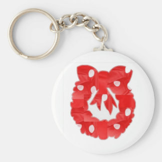 Wreath Red Silk Fabric Patch n Baloons Basic Round Button Key Ring