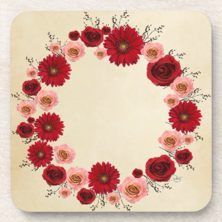 """Wreath """"Simple Circle"""" Pink/Red Flowers Coasters"""