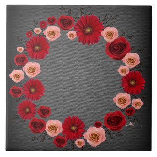 """Wreath """"Simple Circle"""" Pink/Red Flowers Trivet Large Square Tile"""