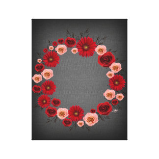"Wreath ""Simple Circle"" Red Flowers Canvas Print"