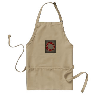 "Wreath ""Simple Circle"" Red/Pink Flowers Apron"