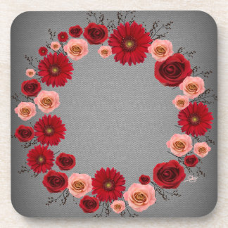 """Wreath """"Simple Circle"""" Red/Pink Flowers Coasters"""