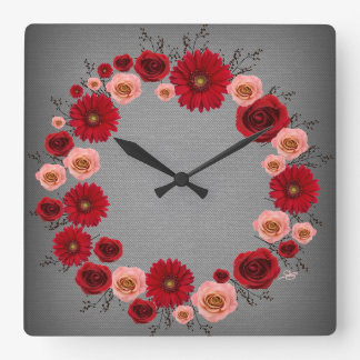 """Wreath """"Simple Circle"""" Red/Pink Flowers Gray Clock"""