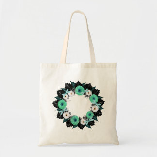 "Wreath ""Teal Dragonfly"" Teal/White Flower Tote Bag"