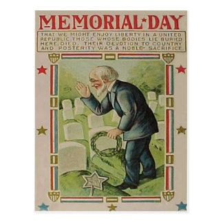 Wreath Veteran Cemetery Tombstone Postcard