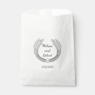 Wreath Wedding Favor Personalized Name & Date Bag