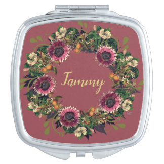 Wreath Wedding Flowers Floral Vector Gold Tammy Makeup Mirrors