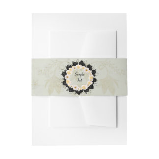 Wreath Wedding Flowers Floral White Invitation Invitation Belly Band
