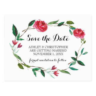 Wreath Wedding Save The Date - boho burgundy roses Postcard