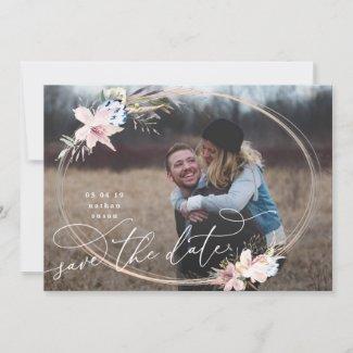 Wreath Whimsical Boho Save the Date Photo Card