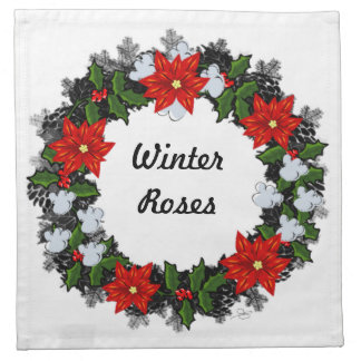"Wreath ""Winter Roses"" Flowers Floral Napkins"